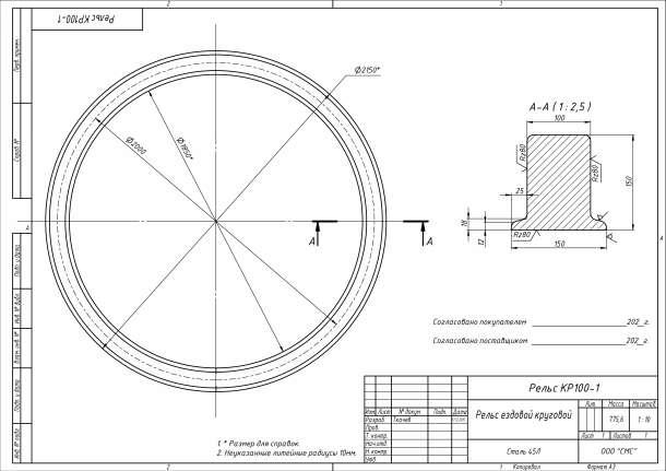 Рельс круговой - изготовления детали